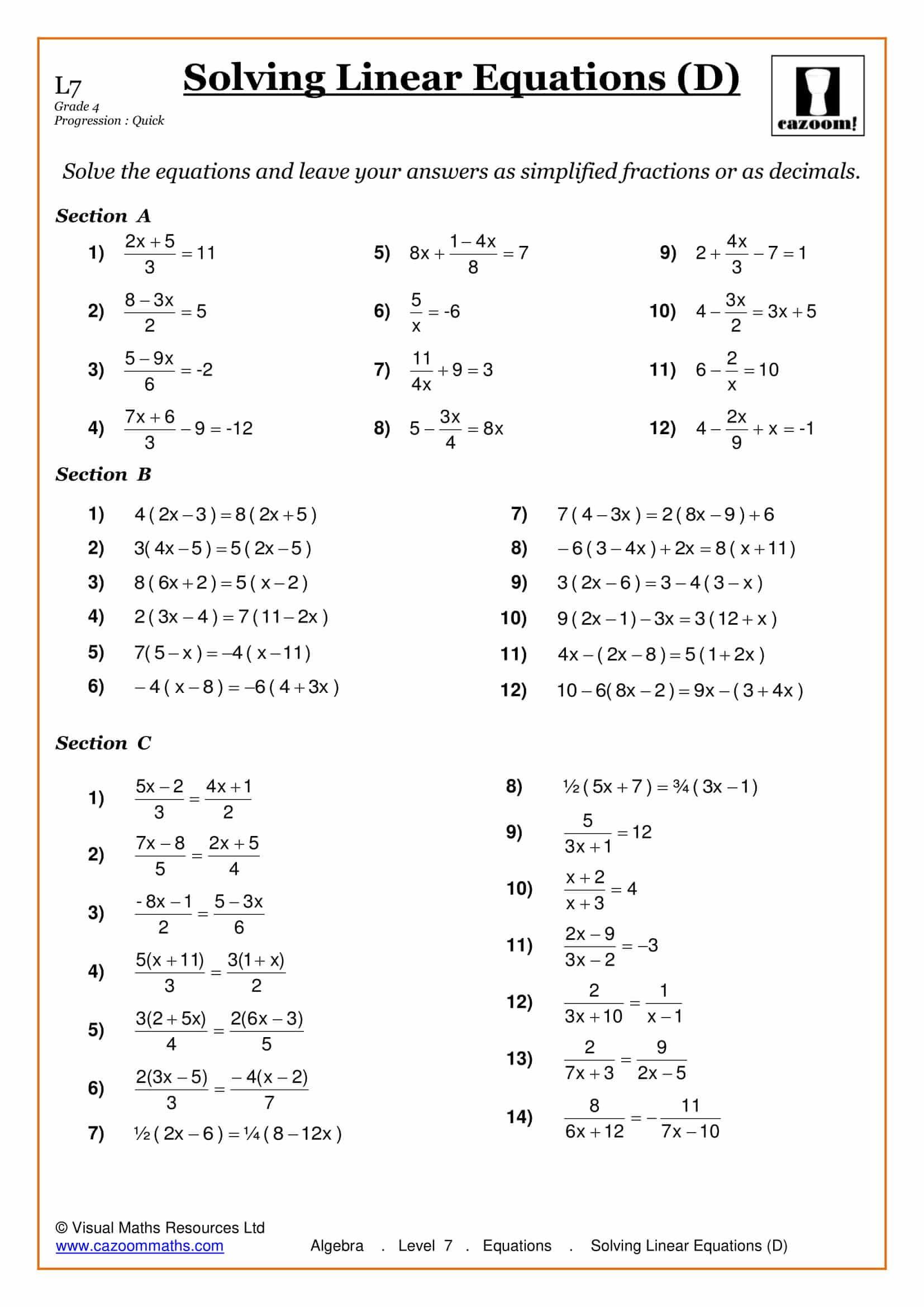 Solving Equations Maths Worksheet - cazoommaths.com   Algebra worksheets [ 2339 x 1654 Pixel ]