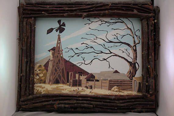 Vintage Rustic Winter Scene Paint By Number Twig Frame