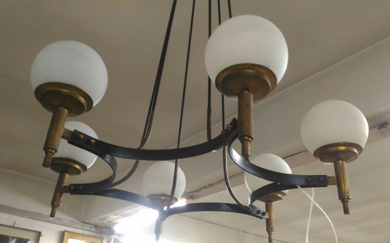 Dettagli Su Stilnovo Attr Mid Century Xl Pendant 1950 6 Lights