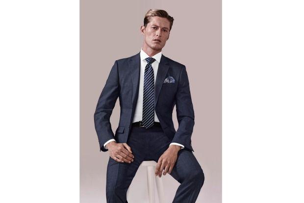 JOE BLACK 'Cornerstone' Textured Suit Blue $695, 'Pioneer' Cotton Shirt  White