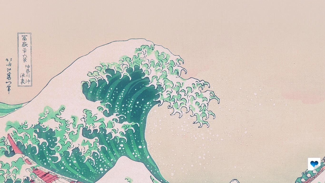 An26-wave-art-hokusai-japanese-green-illust-classic