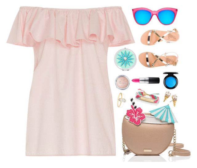 """Untitled #1072"" by celida-loves-pink ❤ liked on Polyvore featuring MDS Stripes, Kate Spade, Le Specs, MAC Cosmetics, Liz Claiborne, Ancient Greek Sandals, Pink, dress, Minimalist and summerfashion"