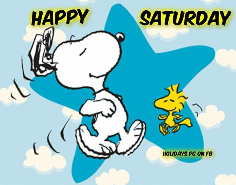 Happy Saturday -Snoopy and Woodstock Dancing in Front of a ...