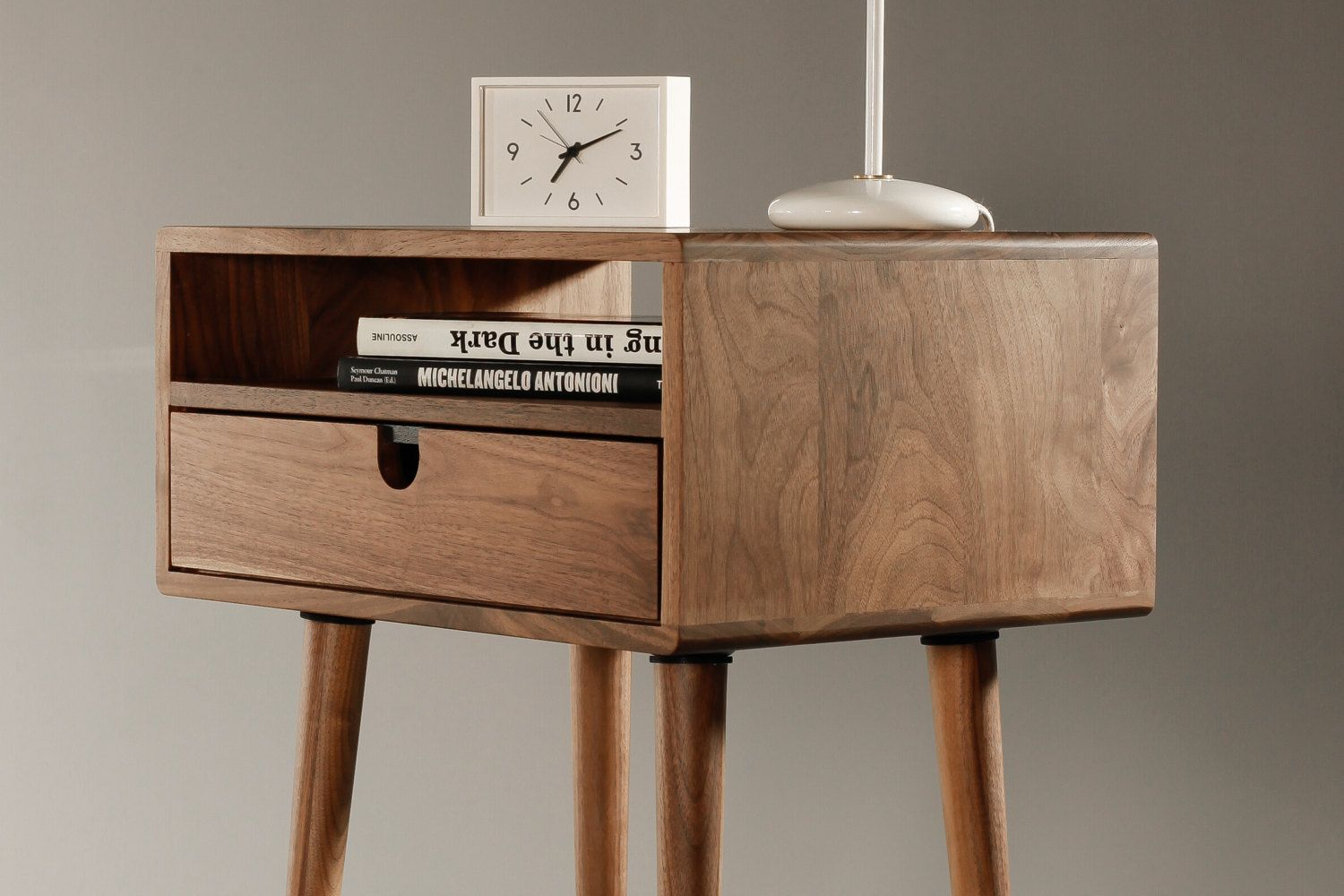 mid century nightstand with drawer in walnut  scandinavian  - mid century nightstand with drawer in walnut