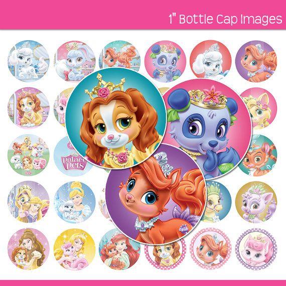 Disney Palace Pets 30 1 Circle Images Bottle Caps Stickers Hairbow Centers More Instant Download Princesas Disney Princesas
