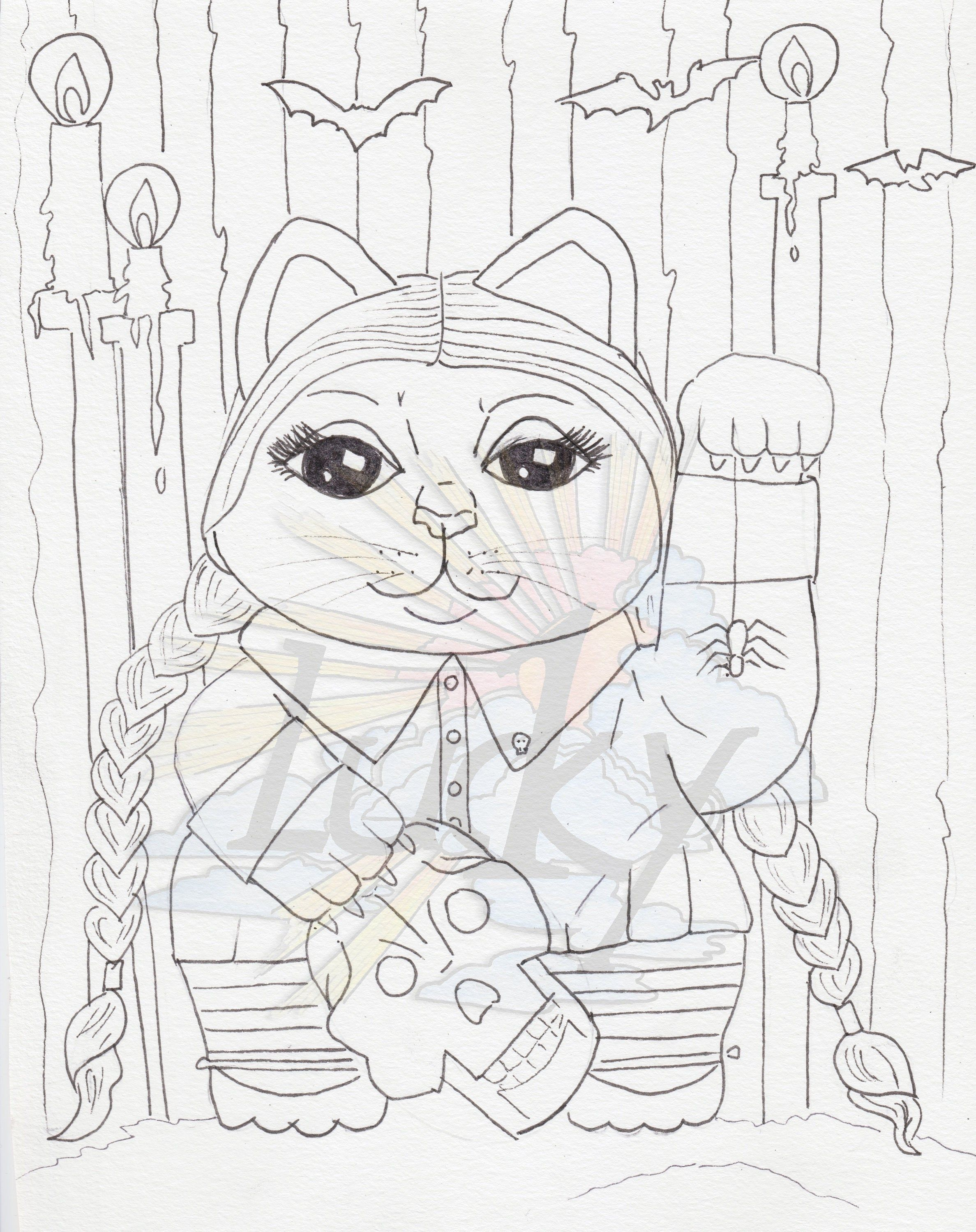 Wednesday Lucky Cat Maneki Neko Coloring Page Gothic Goth