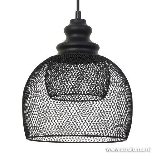 Gaas hanglamp Karleen zwart slaapkamer - www.straluma.nl | Bedroom ...