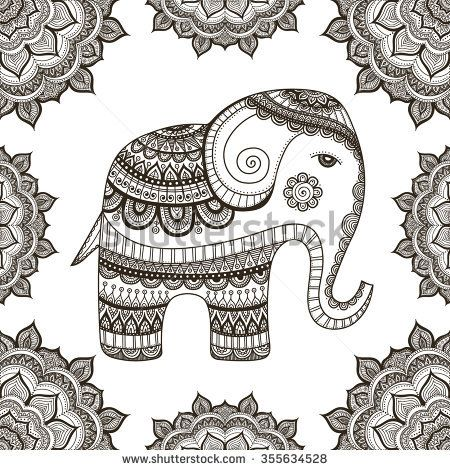 indian elephant hand drawn elephant with doodle tribal ornament