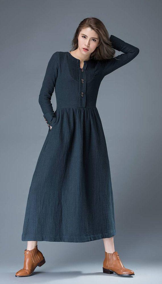 3181675d548 Navy Blue Summer Dress Linen Comfortable Casual by YL1dress