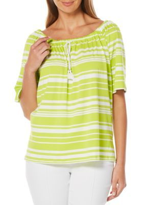 Rafaella Lime Punch Striped Peasant Top