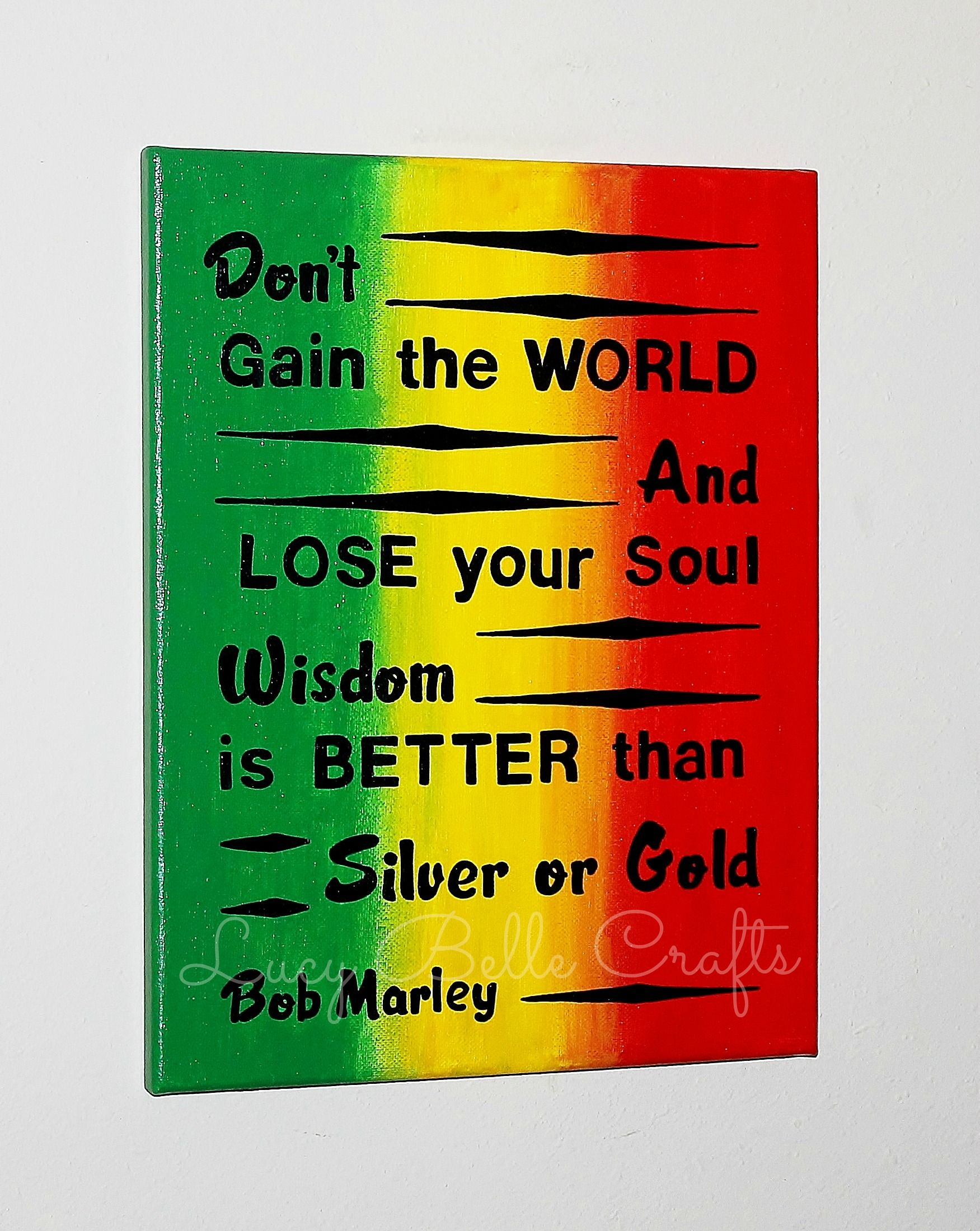 100% Hand Painted Bob Marley Quote with Customized Background on an ...