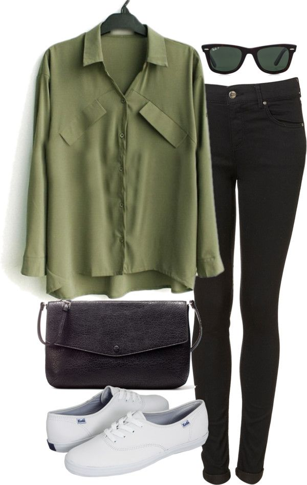 Green blouse / Super skinny jeans / Keds wedge heel shoes / Zara bag / Ray-Ban ray ban shades
