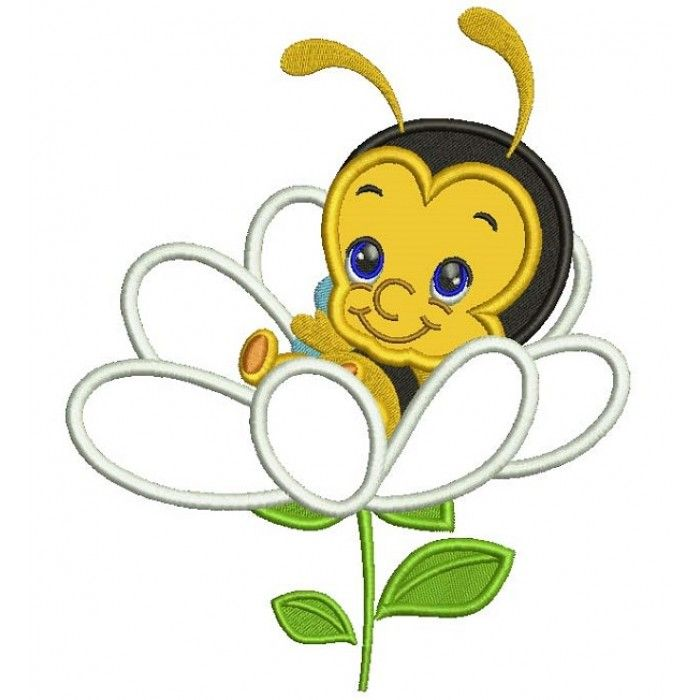 Baby Bee Sitting Inside a Flower Applique Machine Embroidery Design ...