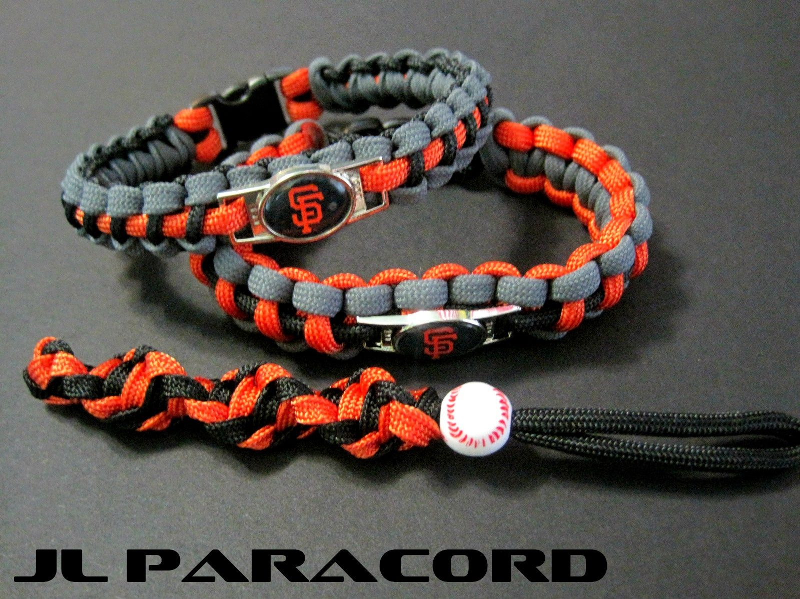 Custom Sf Giants Paracord Bracelets 10 50ea And Baseball Keychain Knife Lanyard 6ea Price Includes Shipping Contact For Orders With Your Favorite