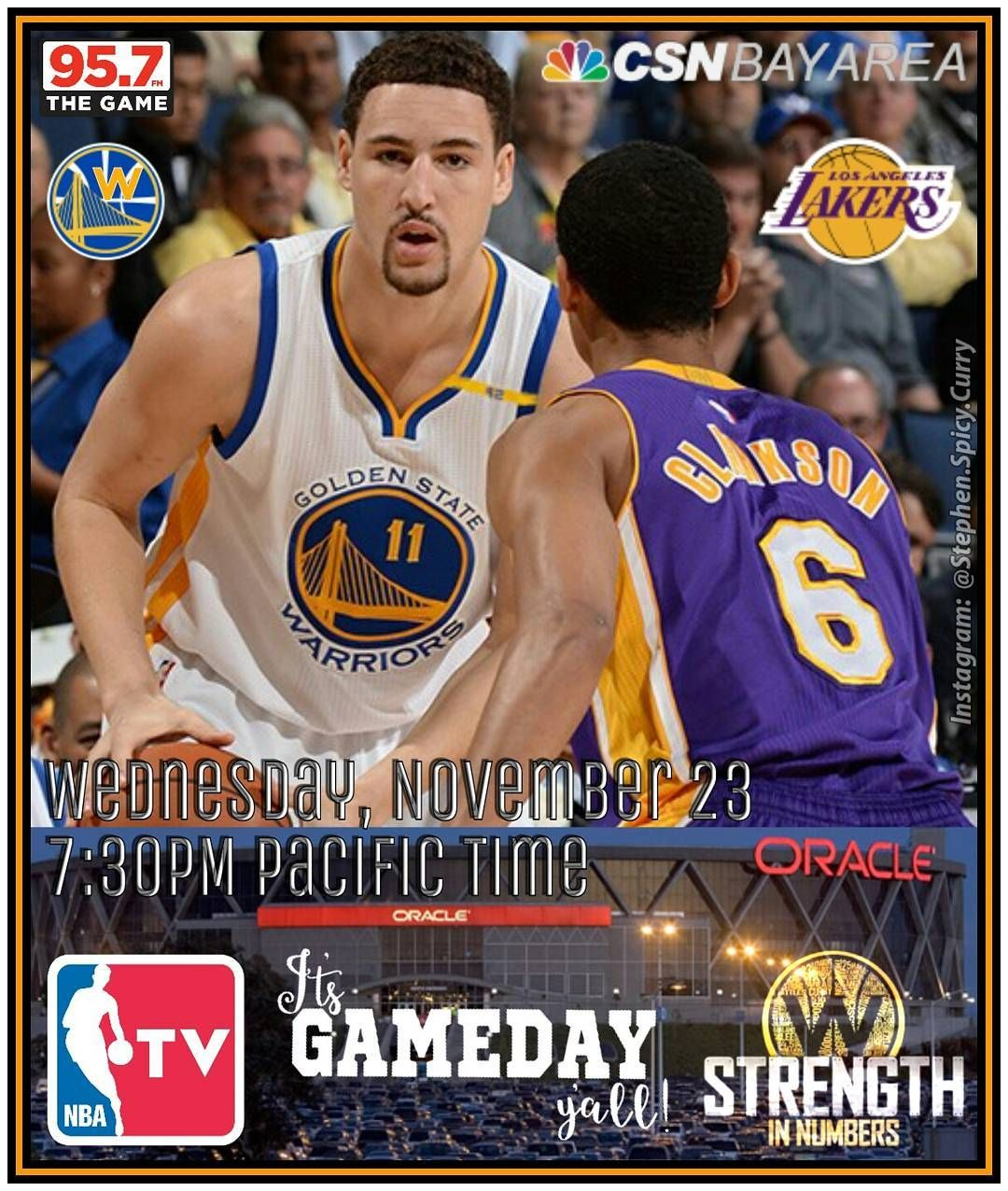 brand new 743de 2ff22 Jordan Clarkson and the Lakers come to Oracle to challenge Klay and the  Dubs to a