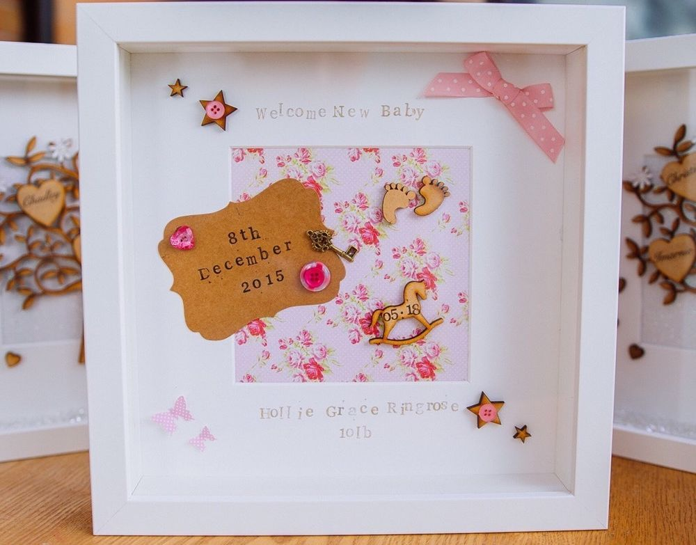 Personalised New Baby Birth Christening Frame Gift Keepsake Boy Girl ...