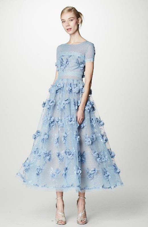 Marchesa Notte Blue 3D Floral Midi_Tea Dress N14G0366 | Coming to ...