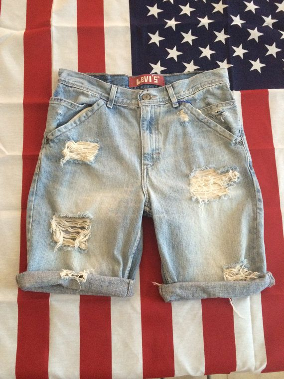 Mens LEVIS Jean Shorts Distressed Denim Cutoffs Shorts Mens Shorts ...