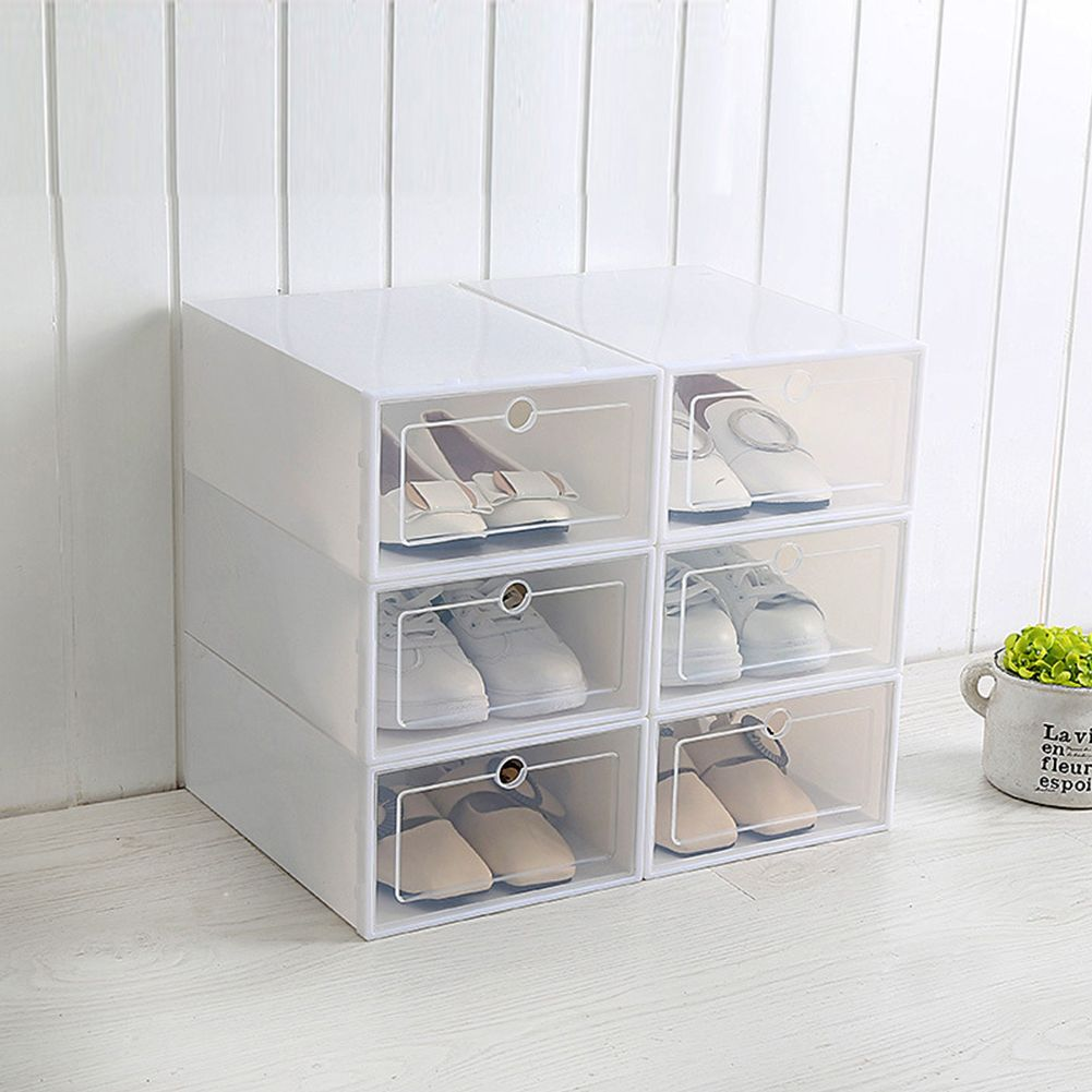 1pc Multifunction Unisex Transparent Shoes Storage Box With Cover 23 5x33 5x13cm Large White Walmart Com In 2020 Shoe Storage Stacking Storage Boxes Shoe Organization Closet