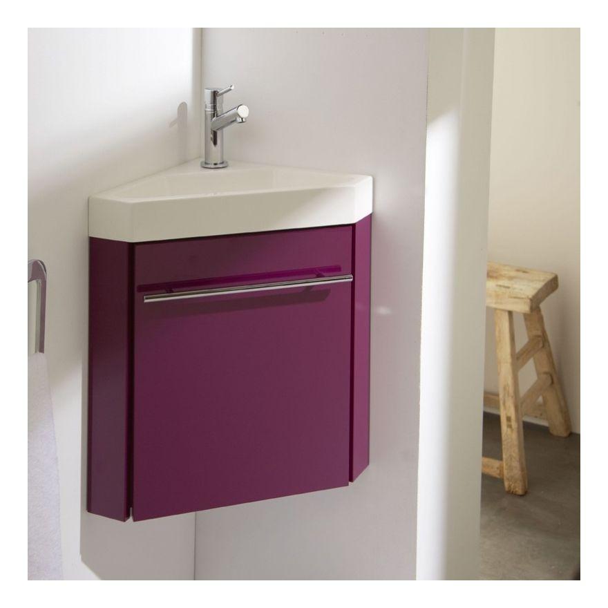 Lave-mains du0027angle complet avec meuble design couleur aubergine +