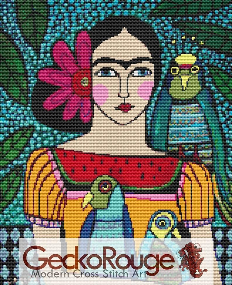 Modern cross stitch kit by Heather Galler /'Frida Kahlo and Parrots 2/' Counted CrossStitch Large