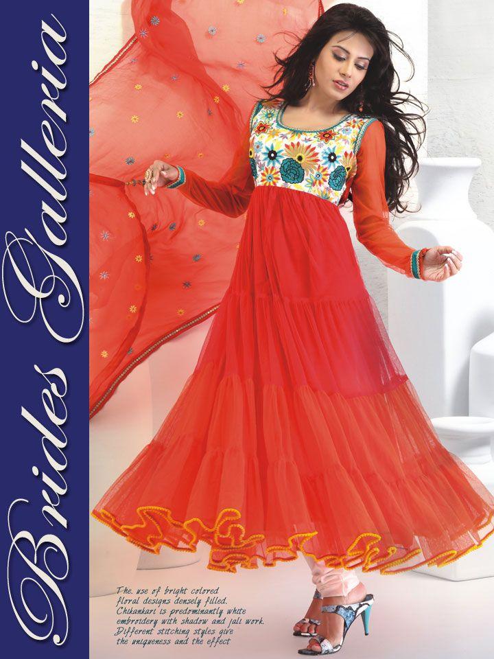 Orange Net Anarkali Style Churidar Kameez : Latest Designer Sarees , Anarkali Suits, Salwar Kameez with