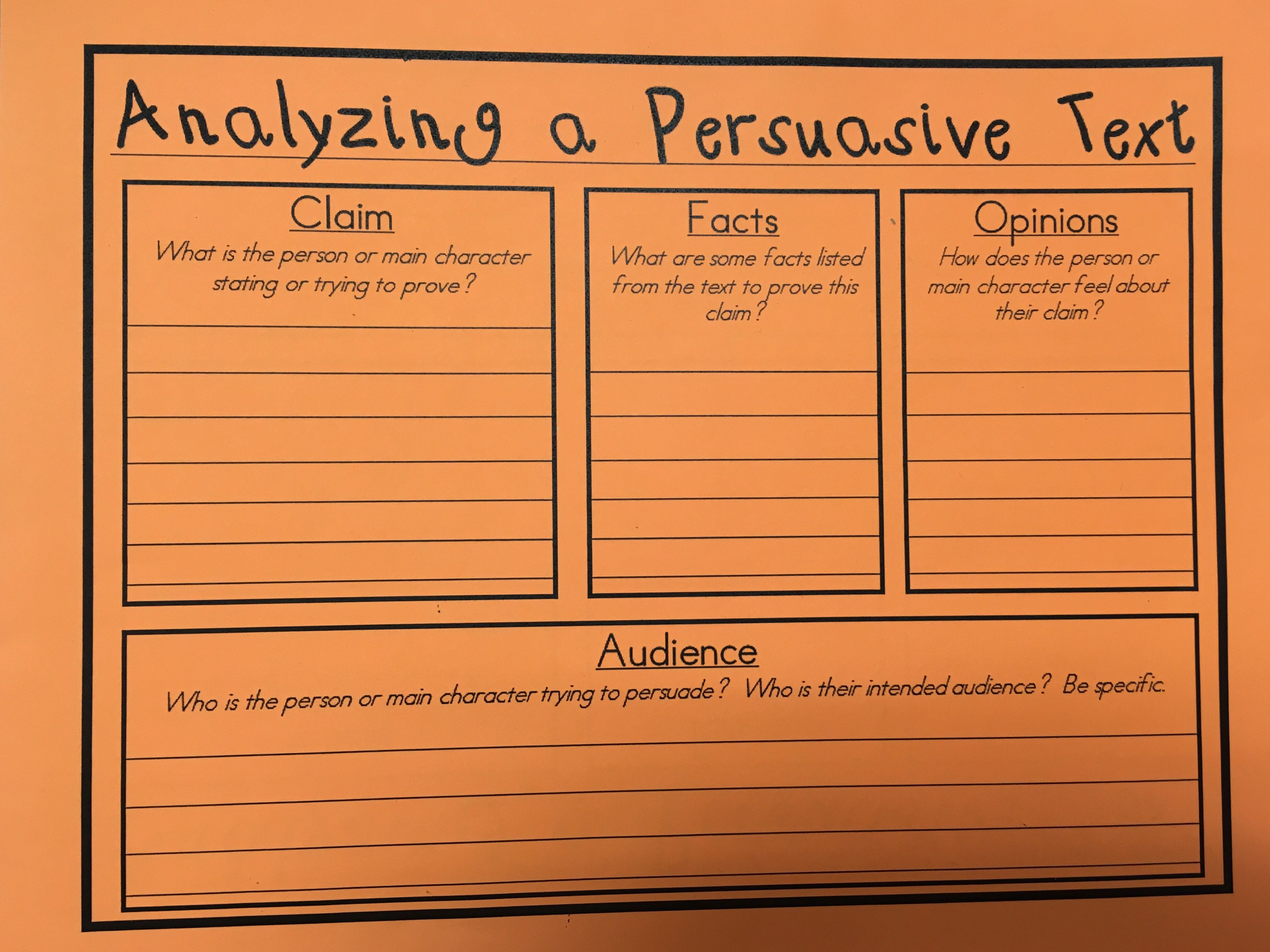 Analyzing A Persuasive Argumentative Text Graphic Organizer Persuasive Text Graphic Organizers Independent Reading Lessons