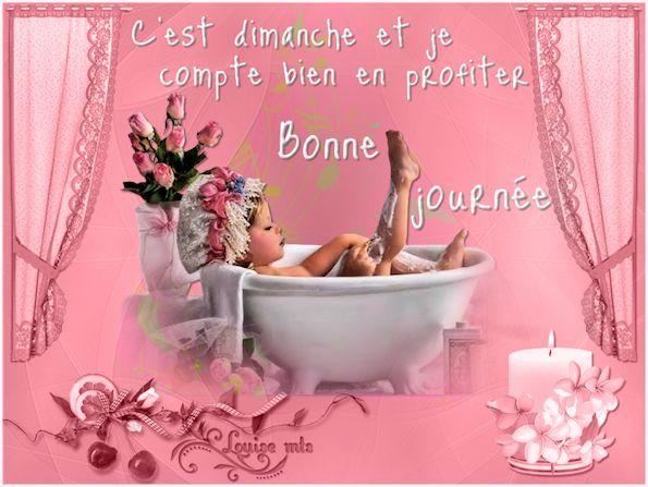 Bonne journ e fillette baignoire rose fleurs dimanche for Envoyer des roses