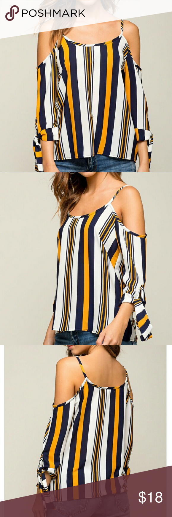 """NEW! Stripe It Cold Shoulder Top New with Tags This total chic chiffon blouse features a flattering vertical striped body, cold shoulders and generous three-quarter sleeves with tied cuffs. Super round neck and back.  Made in U.S.A. Measures approx. 21"""" long, 36""""chest, 38""""waist, 14""""sleeve length  100% Polyester Hand wash cold Model wears a size S Model is 5'7"""", bust 32"""", waist 24"""", hips 36"""" ✔All Reasonable Offers Accepted  ✔Bundle Discounts! ❌NO Lowballing Thank you for stopping by!  Make an…"""