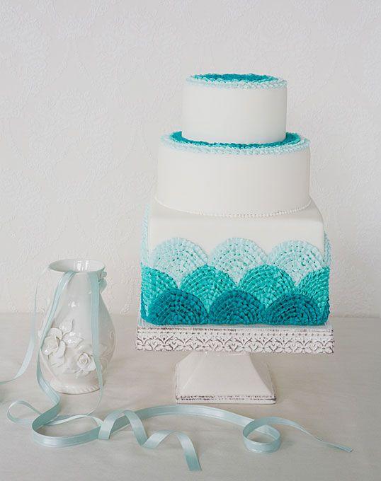 blue buttercream scalloped cake