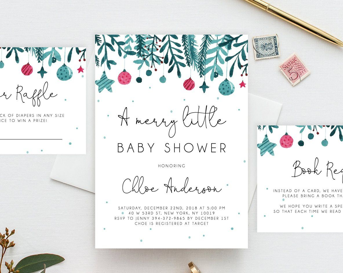A Merry Little Baby Shower Invitation Template Printable Christmas Baby Shower Invitation Winter Holiday Baby Shower Invitation Templett Holiday Baby Shower Christmas Baby Shower Invites Holiday Baby Shower Invitations