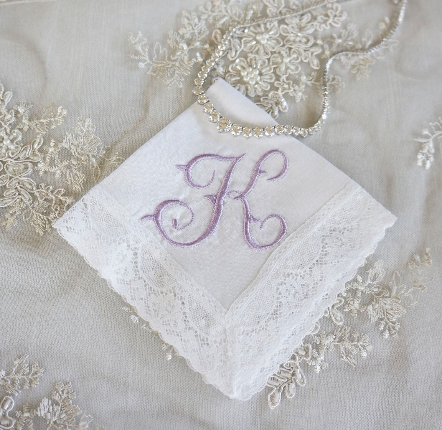 Wedding Monogrammed Handkerchief Personalized Bridal Handkerchiefs Gift