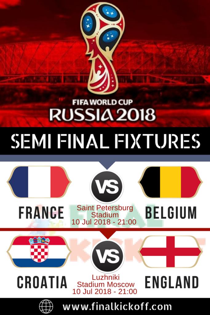 Semi Final Match Fixture Fifa World Cup 2018 World Cup World Cup Champions Fifa World Cup