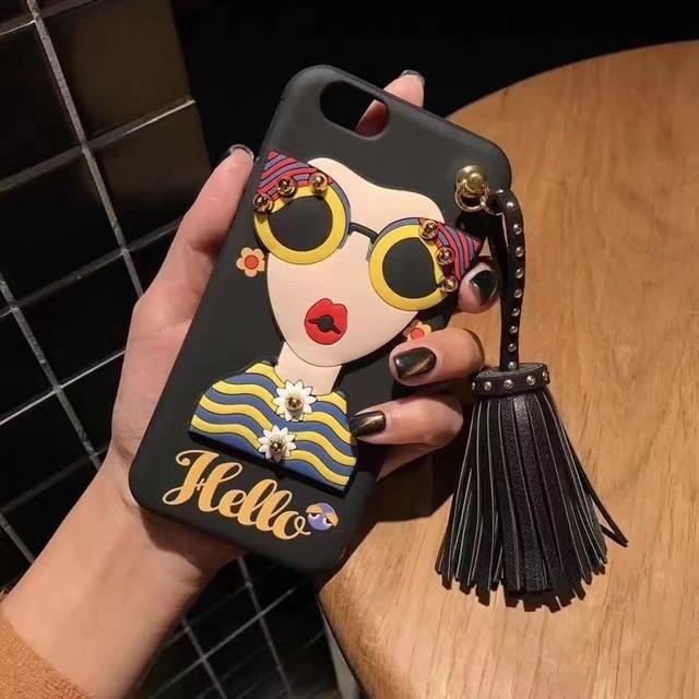 7da1e0af6621 Fashion brand design Cute Korean Glasses Girl Silicone case for iPhone   iphonecases  cute  girl  women  korean  iphone  iphonecases  cases  gifts