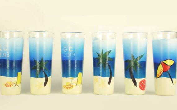 Painted Shot Glasses  Beach Scene Palm Trees by HandPaintedPetals, $55.00