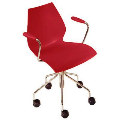 Fauteuil A Roulettes Maui Kartell Rouge Made In Design Chair