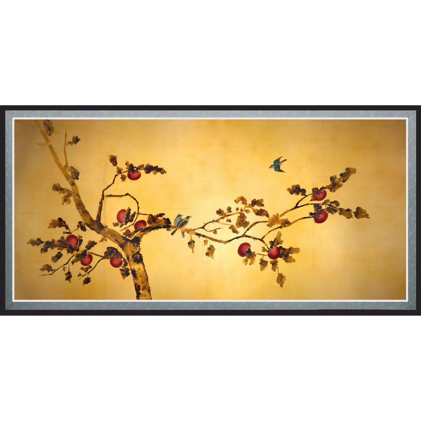 Oriental Furniture Birds On Plum Tree Canvas Wall Art In