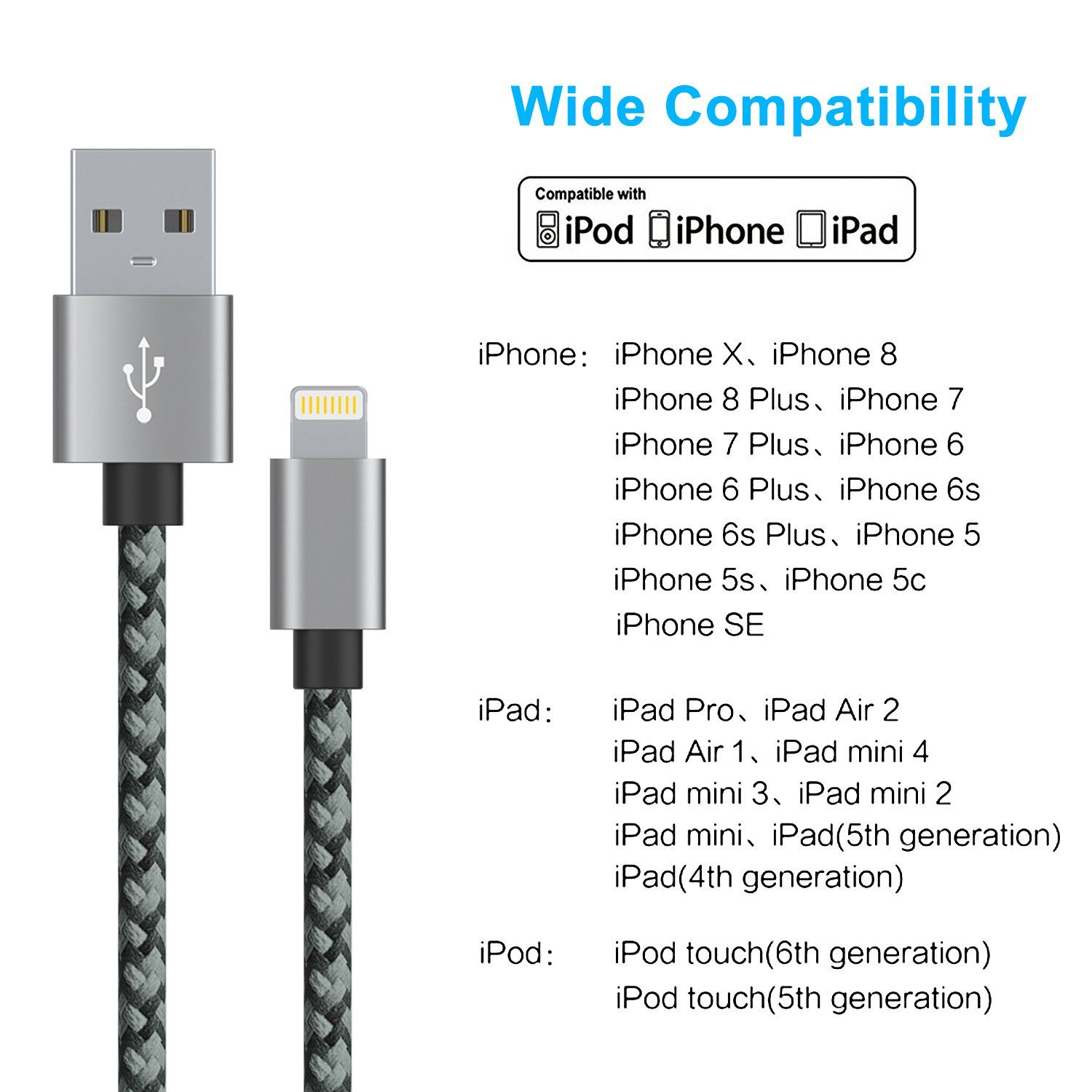 Lightning Cable For Apple iPhone /& iPad Braided 3 Ft iPhone X iPhone 8 iPhone 7