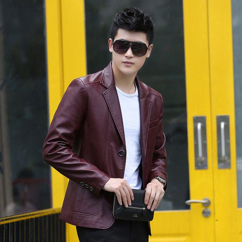 2016 male leather clothing short design slim thin leather jacket suit jacket