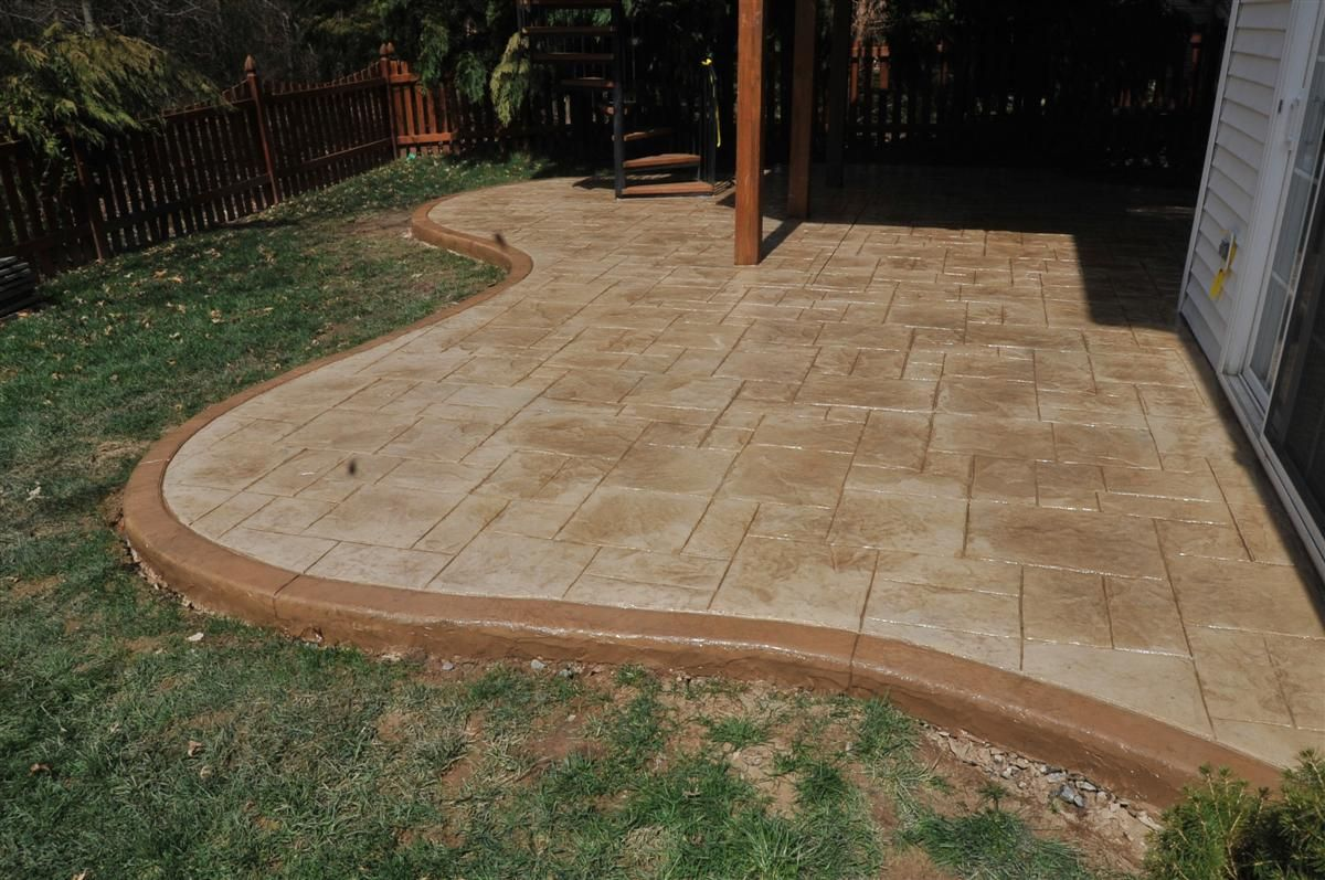 2 Color Classic Stamped Concrete Adobe Buff With Desert Tan Release Highlight Ashlar Slate Stamp Pattern
