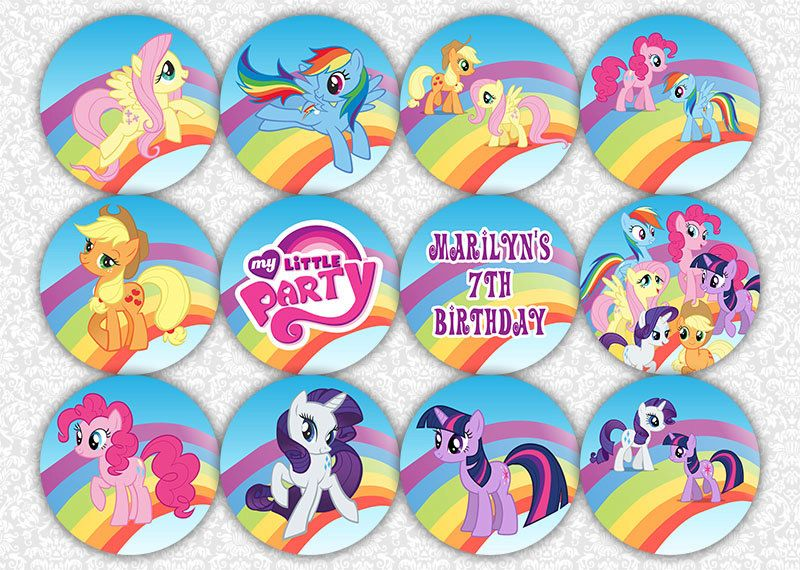 20 PERSONALISED MY LITTLE PONY CUP CAKE FLAG Birthday Party Topper Decoration