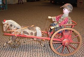 "Antique German Pull Toy ""The Jockey on Cart with Trotting Pony"" - Three Sisters Antiques #dollshopsunited"
