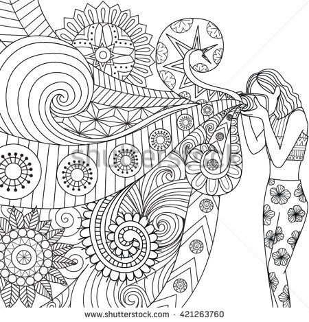 Doodles Design Of A Photographer Girl Taking Photo For Coloring Book Adult