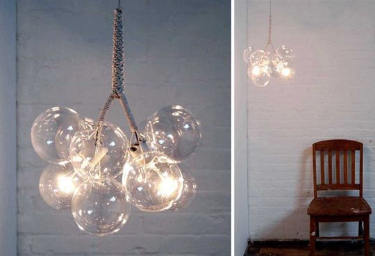 These lightweight chandeliers are created by tying together hand-blown glass balls with cables and cotton twine.