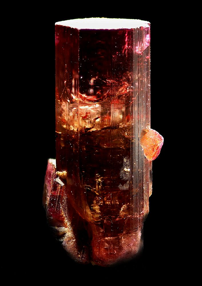 "Elbaite Photo Copyright © Steve Sorrell - Locality: Minas Gerais, Brazil Single crystal simply labelled as ""Minas Gerais"". Crystal is 24mm tall."