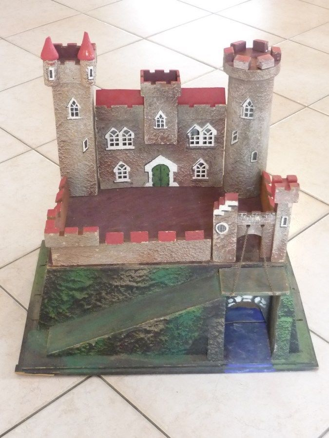 Beautiful Big Castle Antique German Toy Wood Composition