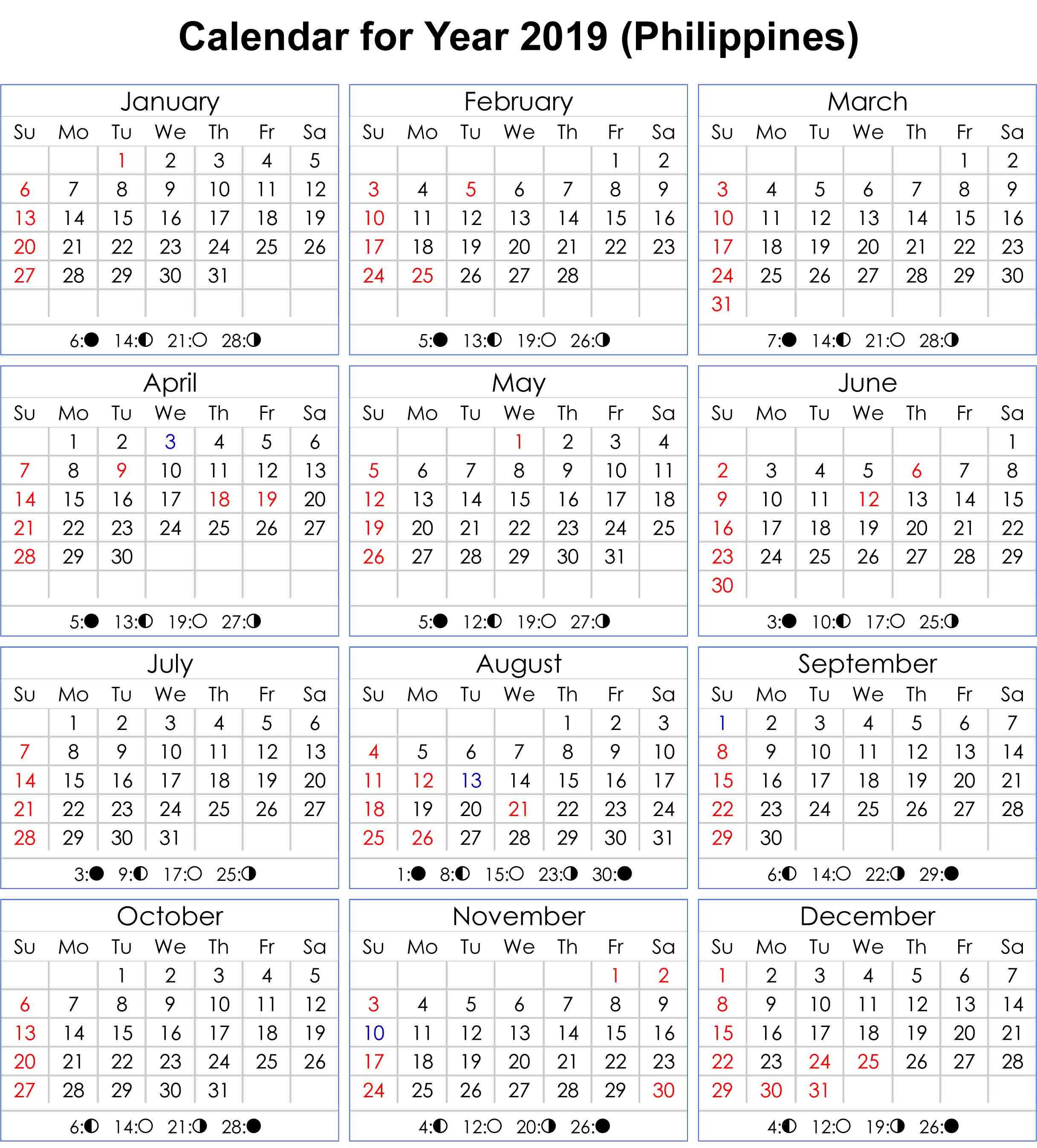 Philippines 2019 Calendar With Moon Phases Calendar Printables