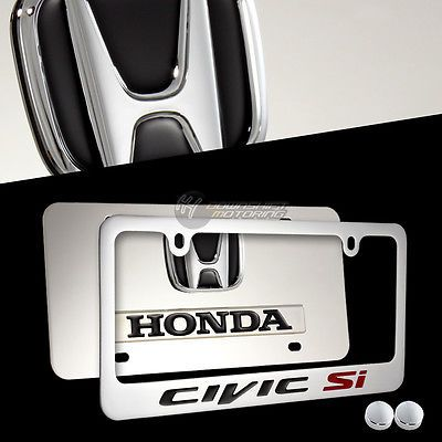 2pcs HONDA CIVIC SI 3D Mirror Stainless Steel License Plate Frame ...