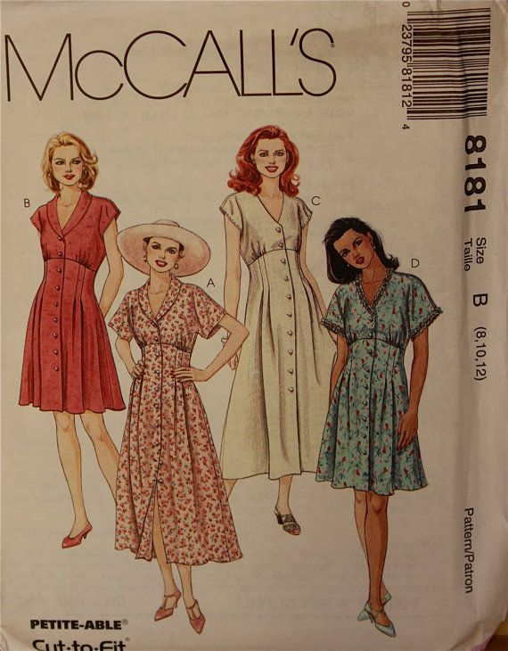 "1990s Empire Bodice Dress McCall's Pattern 8181 Uncut Sizes 8-10-12  Bust 31.5-32.5-34"""