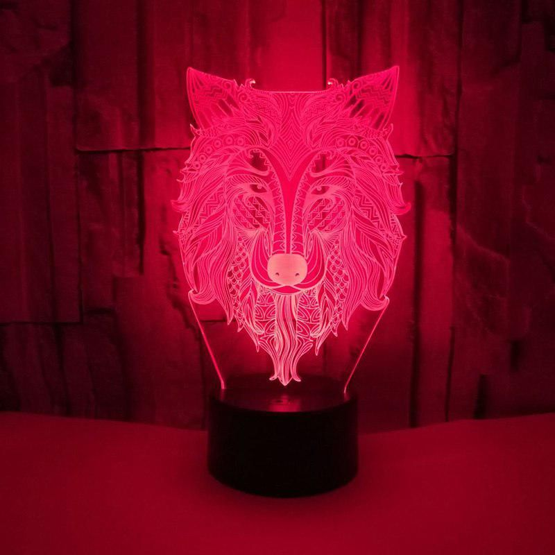 7 Color Wolf Lamp Sleeping Nightlight 3d Visual Led Night Lights For Kids Touch Usb Table Lampara Lampe Led Night Light Night Light Lamp Night Light